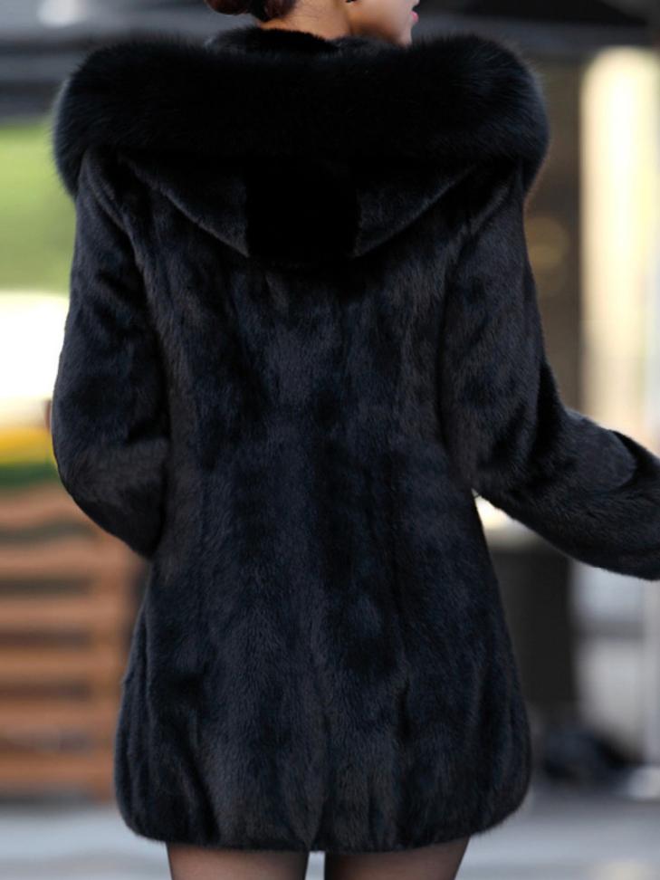 Női szövet kabát, téli prém kapucnis hosszított, műszőrme