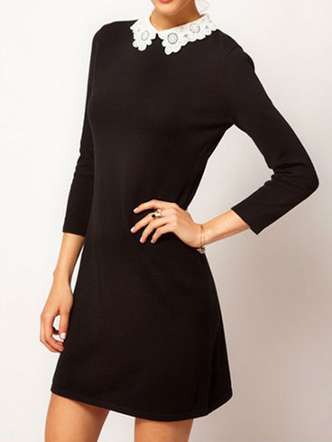 835a047530 női ruha webshop | csipke galléros fekete ruha | Axadion női divat ...