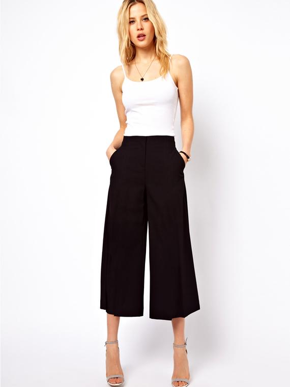 385215c7c7 ruha webshop | nadrágok | bő szárú női capri nadrág rendelés | fekete