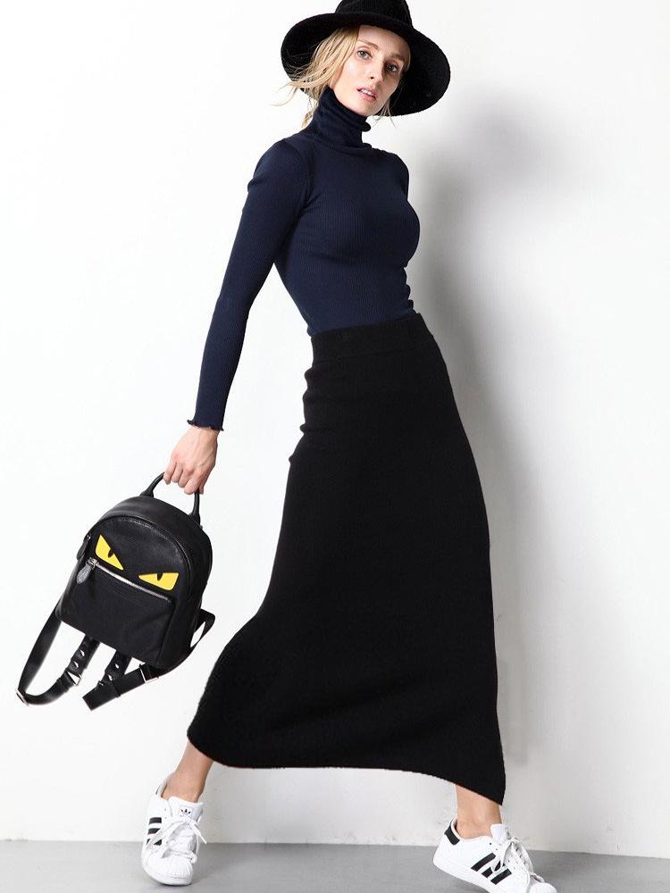 9ad7554c87 ruha webshop   női nadrágok, szoknyák   kötött fekete hosszú szoknya ...