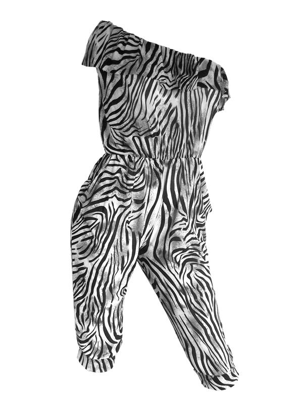 félvállas zebra mintás női overál b946d34cb6