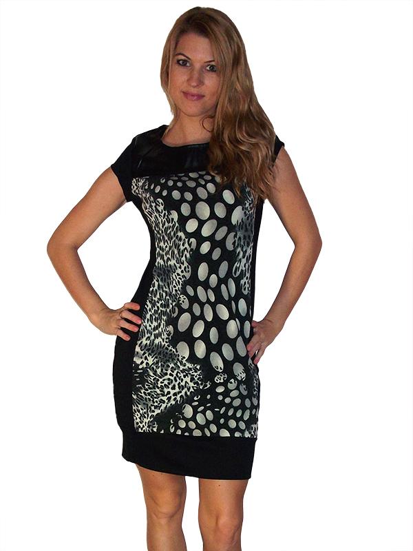4e2941bb54 ruha webshop | női ruhák | bőrvállas szexi mintás ruha rendelés | fekete